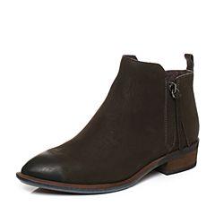 Bata/拔佳冬季专柜同款绿色方跟圆头磨砂牛皮女短靴ABV40DD7