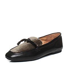 Bata/拔佳秋专柜同款复古方头低跟胎牛皮/毛绒布女休闲单鞋AAC25CM7