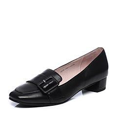 Bata/拔佳春季专柜同款黑色方头粗跟皮带扣羊皮浅口女单鞋AJ521AM7