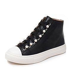 Bata/拔佳黑色时尚珍珠厚底牛皮女休闲短靴YY15DCD7