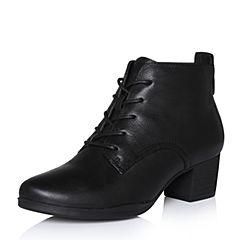 Bata/拔佳2017冬专柜同款黑色圆头粗跟系带牛皮女短靴226-3DD7