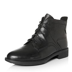 Bata/拔佳2017冬专柜同款黑色圆头方跟系带牛皮马丁靴女短靴166-2DZ7