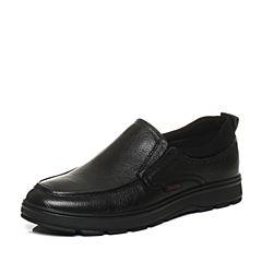 Bata/拔佳2017冬黑色圆头平跟套脚牛皮商务休闲男单鞋856-2DM7