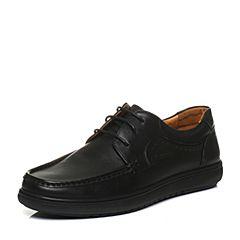 Bata/拔佳2017冬黑色圆头平跟系带牛皮休闲男单鞋6-012DM7