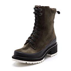 Bata/拔佳2017冬绿色专柜同款时尚休闲粗跟圆头马丁靴女中靴AF567DZ7