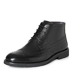 Bata/拔佳2017冬专柜同款黑色雕花圆头方跟牛皮男短靴18-42DD7