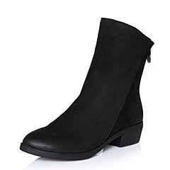 Bata/拔佳2017冬专柜同款黑色圆头方跟羊皮女中靴17-30DZ7