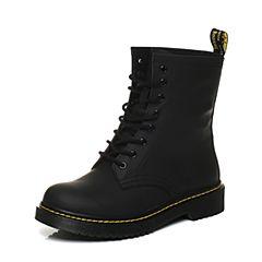 Bata/拔佳2017冬黑色圆头方跟牛皮马丁靴女中靴684-9DZ7