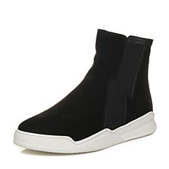 Bata/拔佳2017冬黑色圆头平跟套筒牛皮休闲女短靴69-36DD7