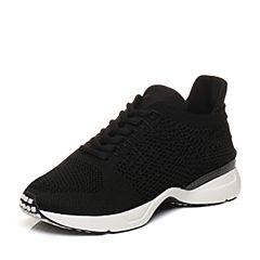 Bata/拔佳2018春专柜同款黑色圆头坡跟系带运动休闲女单鞋ADJ22AM8