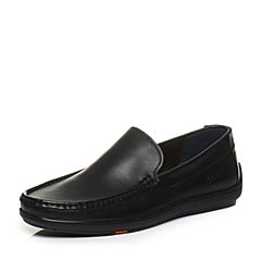 Bata/拔佳2018春专柜同款黑色圆头平跟套脚牛皮乐福鞋男单鞋A9N96AM8