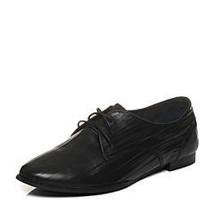 Bata/拔佳2018春专柜同款黑色圆头方跟系带休闲牛皮女单鞋AI427AM8