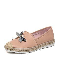 Bata/拔佳2018春专柜同款粉色休闲平跟立体蝴蝶图案胎牛皮女单鞋AS726AM8