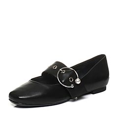 Bata/拔佳2018春专柜同款黑色复古方头绵羊皮玛丽珍鞋女单鞋AN409AQ8