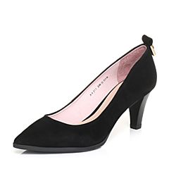 Bata/拔佳2018春专柜同款浅黑色尖头酒杯跟OL通勤羊绒皮浅口女单鞋AAJ01AQ8