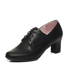 Bata/拔佳2018春专柜同款黑色圆头粗跟系带牛皮女单鞋AQ527AM8