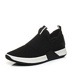 Bata/拔佳2018春专柜同款黑色圆头平跟毛绒布运动休闲男单鞋88J02AM8