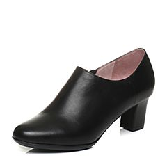 Bata/拔佳2018春专柜同款黑色OL通勤圆头粗跟牛皮女单鞋AQ528AM8