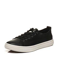 Bata/拔佳2018春专柜同款黑色圆头平跟牛皮休闲板鞋男单鞋88P02AM8