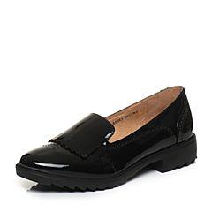 Bata/拔佳2018春专柜同款黑色圆头方跟英伦风漆皮胎牛皮女单鞋AQ283AM8