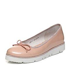 Bata/拔佳2018春专柜同款粉色蝴蝶结圆头坡跟休闲浅口牛皮女单鞋AXF15AQ8