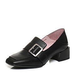 Bata/拔佳2018春专柜同款黑色方头皮带扣英伦风胎牛皮乐福鞋女单鞋ACN20AM8