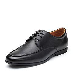 Bata/拔佳2018春专柜同款黑色圆头方跟系带商务牛皮男单鞋77-12AM8