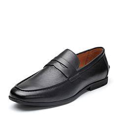 Bata/拔佳2018春专柜同款黑色圆头方跟套脚商务牛皮男单鞋877-8AM8