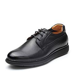 Bata/拔佳2018春专柜同款黑色圆头平跟系带牛皮男单鞋667-5AM8