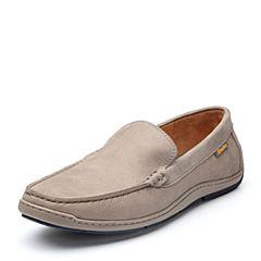 Bata/拔佳2018春专柜同款灰色圆头平跟套脚牛皮乐福鞋男单鞋533-5AM8