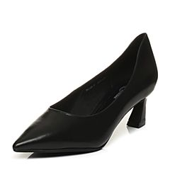 Bata/拔佳2018春专柜同款黑色优雅尖头OL通勤浅口猫跟牛皮女单鞋196-9AQ8