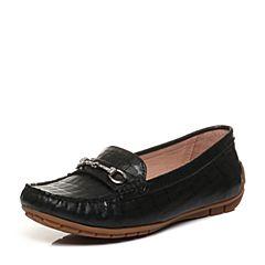 Bata/拔佳2018春专柜同款黑色圆头平跟马衔扣羊皮乐福鞋女单鞋23-19AM8