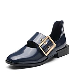 Bata/拔佳2018春专柜同款蓝色圆头方跟一字式扣带牛皮玛丽珍女单鞋859-2AM8