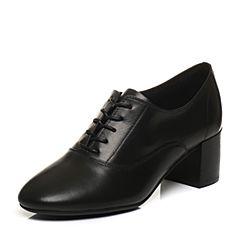 Bata/拔佳2018春专柜同款黑色圆头粗跟系带OL通勤牛皮女单鞋831-1AM8