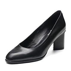 Bata/拔佳2018春专柜同款黑色OL通勤圆头粗高跟牛皮浅口女皮鞋858-1AQ8