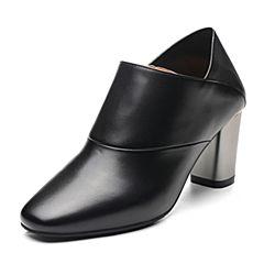 Bata/拔佳2018春专柜同款黑色方头粗高跟OL通勤牛皮女单鞋31B-1AM8