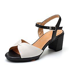 Bata/拔佳2018夏新专柜同款米/黑色简约优雅秀气OL通勤羊皮革女凉鞋AZY37BL8