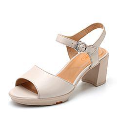 Bata/拔佳2018夏新专柜同款浅灰色粗高跟OL通勤小牛皮革女凉鞋AZY32BL8