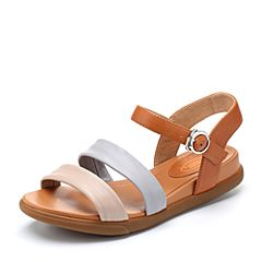 Bata/拔佳2018夏新专柜同款舒适休闲坡跟拼色羊皮革女凉鞋AZ111BL8