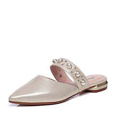 Bata/拔佳2018夏新专柜同款浅金色尖头羊皮革珍珠穆勒鞋女凉鞋AI362BH8