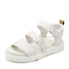 Bata/拔佳2018夏新品专柜同款白色休闲平跟牛皮革/弹力网布女凉鞋ADD02BL8