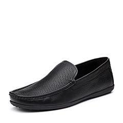 Bata/拔佳2018夏新专柜同款黑色时尚休闲平跟牛皮革乐福鞋男单鞋A9N81BM8
