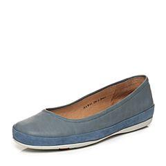 Bata/拔佳2018春专柜同款兰色圆头平跟套脚拼色浅口女单鞋AAW01AQ8