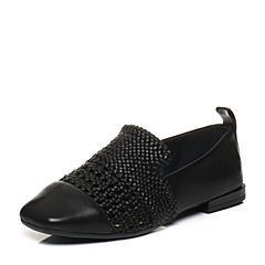 Bata/拔佳2018春专柜同款黑色方头编织羊皮/PU乐福女单鞋ABM20AM8