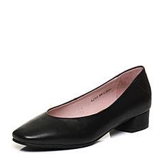 Bata/拔佳2018春专柜同款黑色OL通勤方头粗跟胎牛皮浅口女单鞋AJ503AQ8