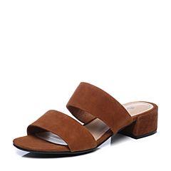 Bata/拔佳2018夏新专柜同款驼色粗跟羊绒皮革女皮凉拖鞋99-21BT8