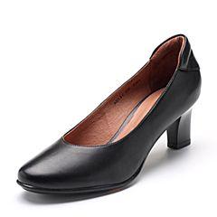 Bata/拔佳2018秋新款专柜同款黑色绵羊皮革粗高跟浅口女单鞋AD334CQ8