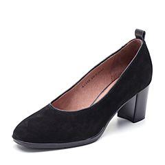 Bata/拔佳2018秋新专柜同款黑色优雅通勤粗跟羊绒皮革浅口女单鞋ACF05CQ8