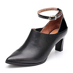 Bata/拔佳2018秋新款专柜同款黑色一字带尖头细高跟牛皮革女单鞋AAJ20CM8