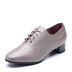 Bata/拔佳2018秋新款专柜同款胎牛皮革简约粗中跟女单鞋AQ420CM8